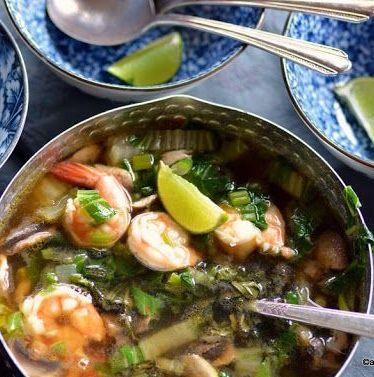 Soupe de crevette, pak choï et vermicelles