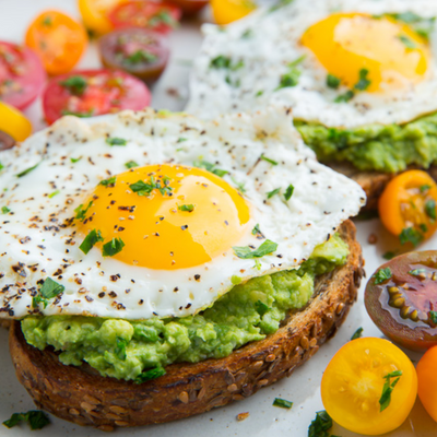 Avocado toasts with eggs (6 toasts)